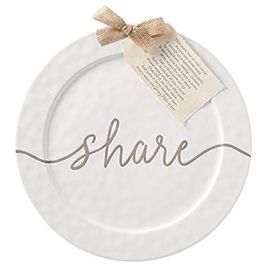 Mud Pie 40700041 Round Ceramic Share 14  Serving Platter, One Size, White