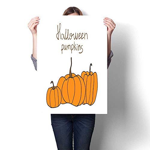 smllmoonDecor Home Decor Halloween Pumpkin Vector Pattern Simple Pumpkins on White Background for Web Page Background Wrapping Paper Decorative Fine Art Canvas Print Poster K 20