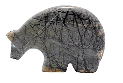 Fetish Picasso Marble - Perry Null Trading Bear, Zuni Fetish, Picasso Marble, Turquoise, 3.5