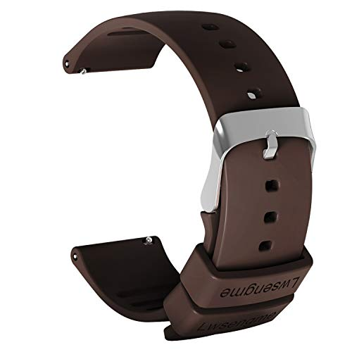 Lwsengme Silicone Watch Replacement Band with Quick Release-Choose Color & Width (20mm,22mm) & Length-Soft Rubber Watch Strap (Brown, 22mm) Brown Rubber Strap Watch