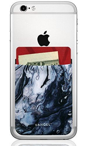 (Vandel Pocket: Stick On Fabric Cell Phone Wallet   Credit Card Holder for Back of Smartphone Case   Stretchy Fabric Adhesive Sleeve Compatible with All Devices   Blue)