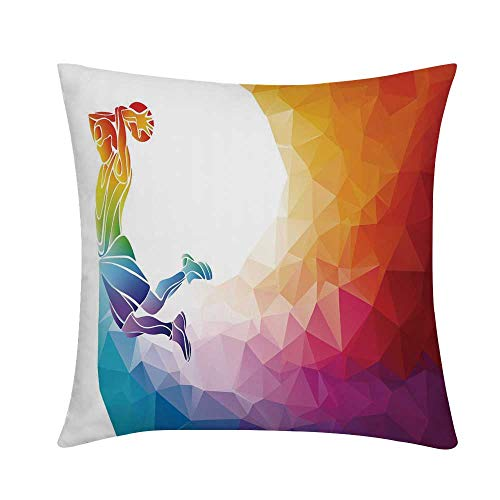 TecBillion Apartment Decor Square Throw Pillow,Rainbow Colored Theme with a Basketball Player Sports Man Jumps Print Case Cushion Cover,S (16