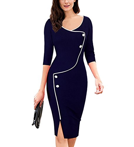 Babyonlinedress Women's Sheath Bodycon Evening Party Mother Of The Bride Dresses(Navy,Size L)