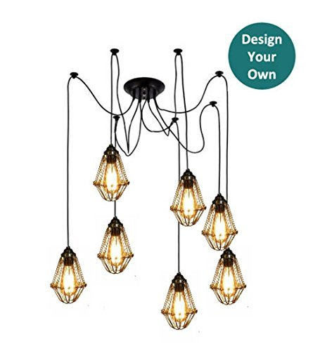 Custom Swag Cage Chandelier - 7 Pendant Light Spider Chandelier - Many Colorful Choices - Design your Own - Antique Bulbs - LED ()