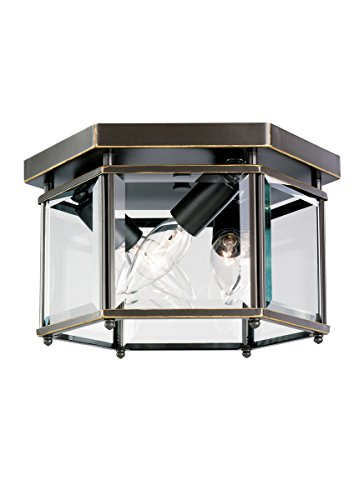 Sea Gull Lighting 7648-782 3-Light Ceiling Fixture, Clear Beveled Glass and Heirloom - Residential Ceiling Fixture Lighting