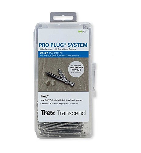 Pro Plug PVC Plugs and Stainless Screws for Lava Rock Decking, 85 Plugs for 20 sq ft, 75 Stainless Steel Screws