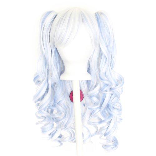 Meiko - Snow White and Saxe Blue Mixed Blend Wig 20'' Gothic Lolita Set (Snow Gothic)