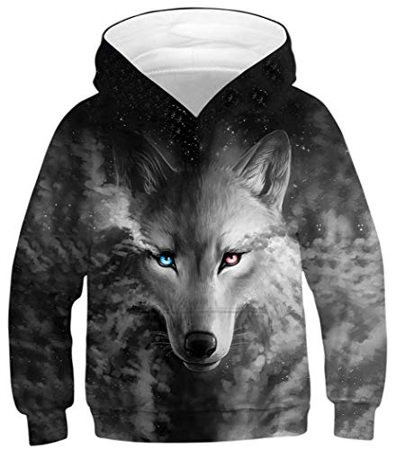 Classic Hooded Fleece Sweater - HaniLav Boys Girls Fleece 3D Print Pullover Sweatshirts Hooded Jumpers,Grey Wolf,S