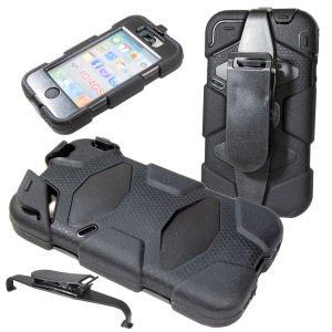 Armor robuste Kunststoffhülle mit Gummiüberzug Hülle Schale Tasche Schutzhülle mit Clip 360 Grad drehbar und abnehmbar für iPhone 4, 4G, 4S, schwarz