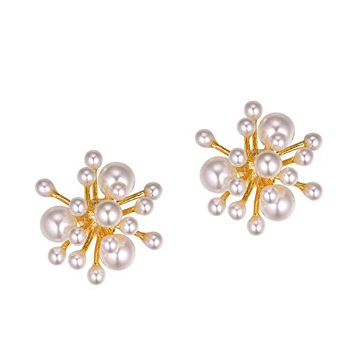 FOCALOOK Pearl Earrings for Women Girls Hypoallergenic 925 Sterling Silver Button Studs Full Big Small White Round Artificial Pearls 18K Gold Plated Copper Jewelry Fashion Flower Coral Earrings