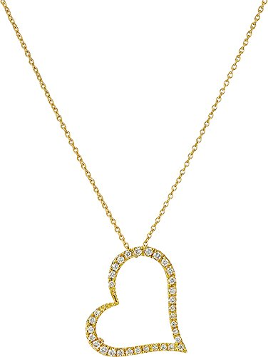 Roberto Coin Women's Tiny Treasures 18K Yellow Gold Slanted Open Heart Necklace Yellow One Size (Heart Pendant Slanted Necklace)