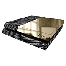 PS4 PlayStation 4 Carbon Fiber Quarter Gold Chrome Skin Wrap Decal