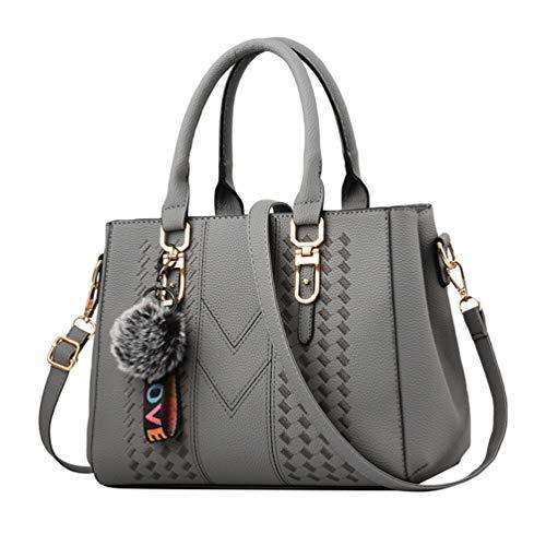 YAANCUN Womens Tote Crossbody Bags Handbags Shoulder Bags Travel PU Leather Tote Handbag Grey