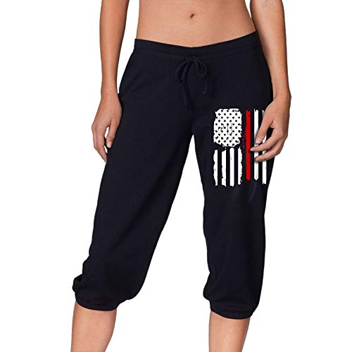 HLGd39-5 Women Power Flex Jogger Sweatpants Red Line Firefighters USA Flag Jogger Pants ()