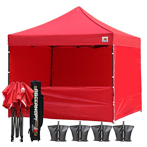 ABCCANOPY 10-Feet by 10-Feet Festival Steel Instant Canopy, Commercial Level, with Wheeled Storage Bag, 6 Removable Zipper End Walls, Bonus 4X Weight Bag (red)