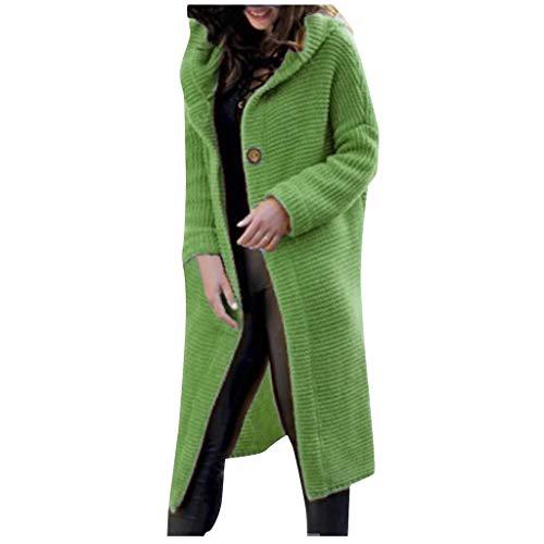 Kiminana Plus Size Sweater Cardigan Women Fashion Casual Hooded Cardigan Jacket Casual Solid Long Knit Coat Outerwear Mint Green