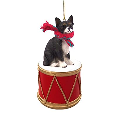 Animal-Den-Little-Drummer-Chihuahua-Black-White-Christmas-Ornament-Hand-Painted-Delightful