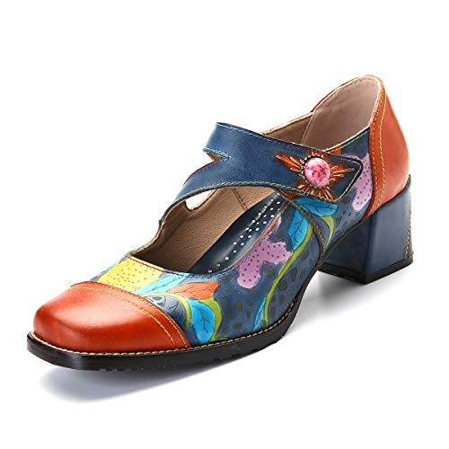 CrazycatZ Womens Leather Mary Jane Shoes Colorful Patchword Block Heel Pumps Vintage Mary Jane Shoes (40 EU 9 US, SM-02) ()