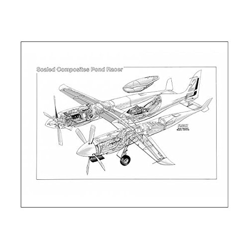 20x16 Print of Scaled Composites Pond Racer Cutaway Drawing (Pond Racer)