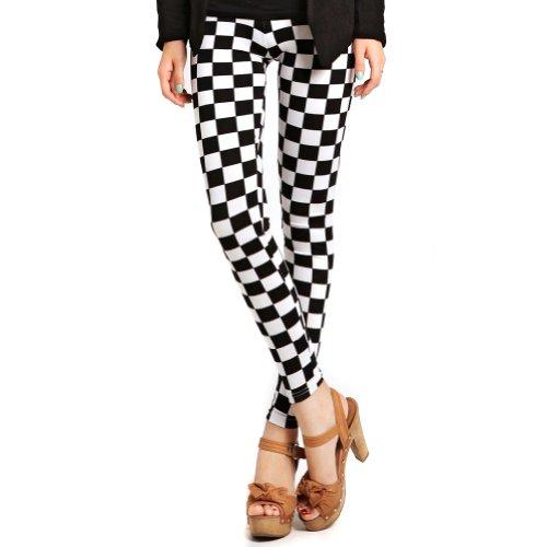 LOCOMO Black White Checkers Check Square Plaid Legging (S-M) FFT111 ()