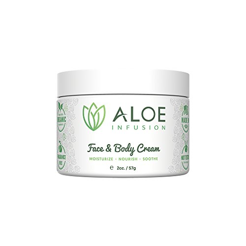 (Aloe Infusion Body and Face Moisturizer - All Natural Eczema Cream for Itchy Dry Skin, Sensitive Skin, Acne and Psoriasis - Organic Aloe Vera, Shea Butter, Coenzyme Q10, Grape Seed Oil, Kukui Nut Oil)