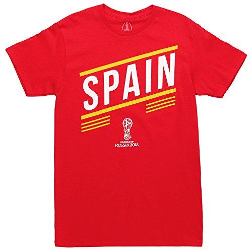 Fifth Sun World Cup 2018 Spain Stripes Adult T-Shirt - Red (Medium)
