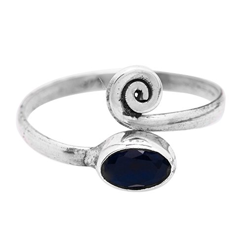 Sterling Silver Created Sapphire Adjustable Spiral Midi Knuckle / Toe Ring by Koral Jewelry