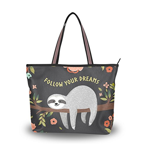 MyDaily Women Tote Shoulder Bag Sloth Follow Your Dreams Handbag Large