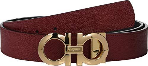 (Salvatore Ferragamo Men's Reversible/Adjustable Belt - 675542 Red/Black 40)