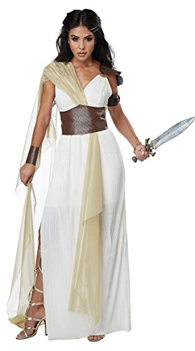 California Costumes Women's Spartan Warrior Queen Costume, cream/gold, Large