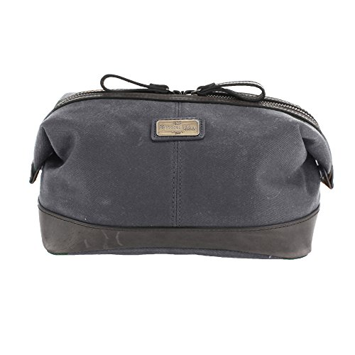 Langdale Wash Bag - Dark Carbon - One Size - Leather Trim - Waxed Canvas Wash Canvas Bag