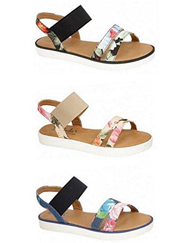 Ladies Bohemian Floral Fashion Strappy Gladiator Flat Summer Sandal Shoe Black 5 UK / 38 EU fVMY4