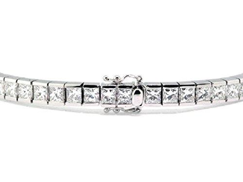 F/VS 6carats Diamant princesse Barre de bracelet de tennis en or blanc 18K