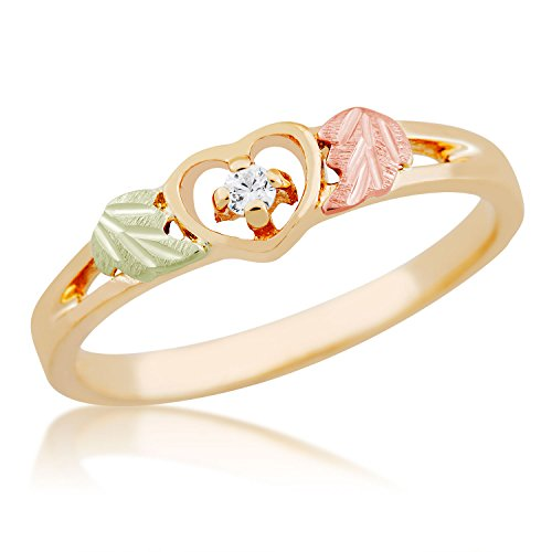 Heart with Diamond Ring, 10k Yellow Gold, 12k Green and Rose Gold Black Hills Gold Motif, Size 10 by Black Hills Gold Jewelry