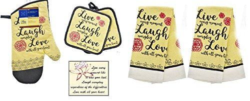 Live Laugh Love Decor Red, Gray and Cream Kitchen Towel 6 Piece Set - 2 Towels, 2 Pot Holders 1 Oven Mitt and Bonus Magnet by Home Collection