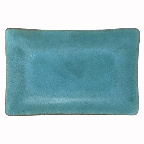 Dock 6 Pottery 10-inch Rectangular Footed Tray, Turquoise