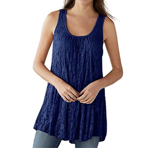 Tank Tops for Women, Plus Size Fashion Lace Sleeveless O-Neck Summer Tops Mesh Blouses Blue