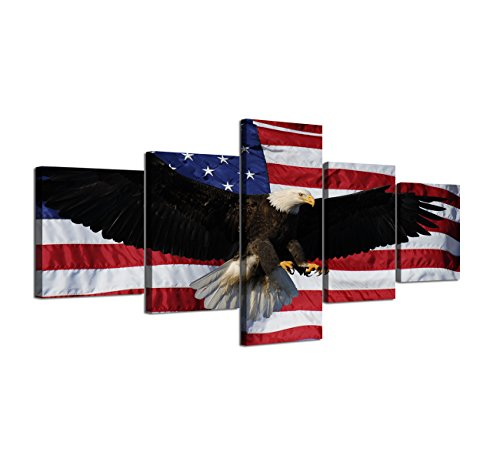 Day Framed Panel Print - American Flag Eagle Canvas Red White Wall Art Patriotic Concept USA Flag Painting Independence Day 5 Panels Artwork Print Giclee for Living Room Home Decor Stretched Framed Varying size(50''W x 24''H)