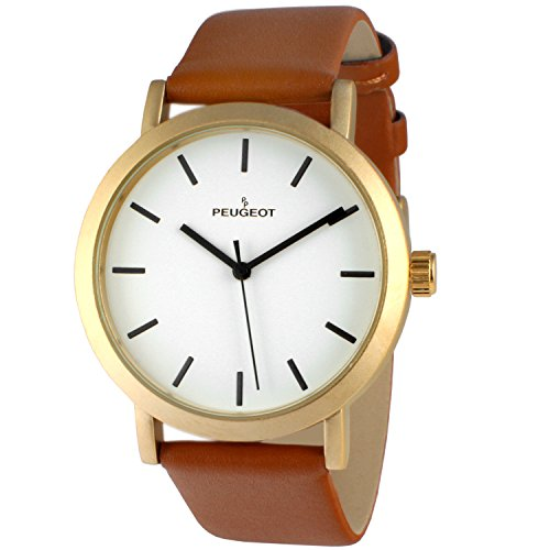Peugeot Unisex Sleek Matte Gold Watch with Tan Leather Srap