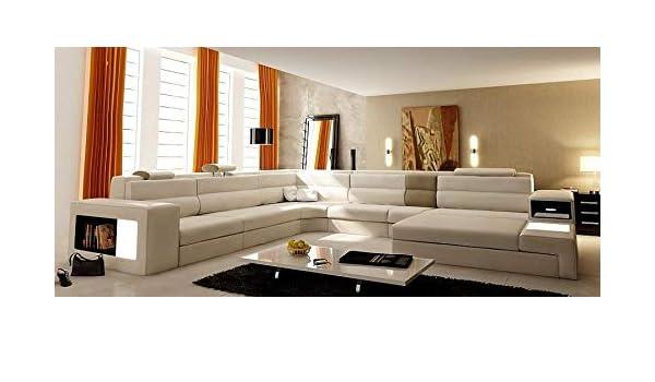 Amazon.com: Polaris Cream Modern Italian Design Sectional ...