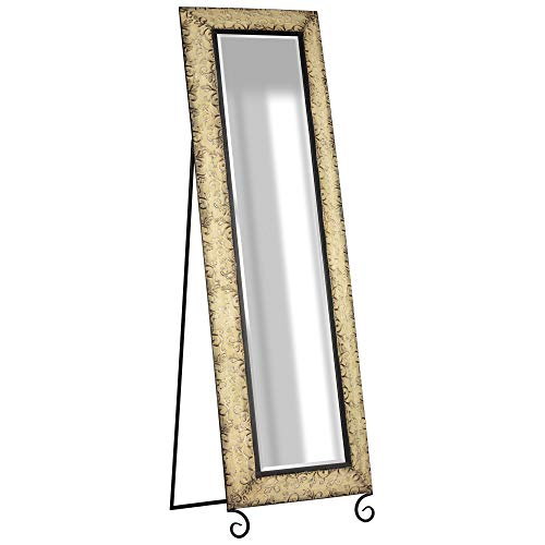 Everly Hart Collection Antique Bronze Embossed Metal Standing Full Length Mirrors, Black