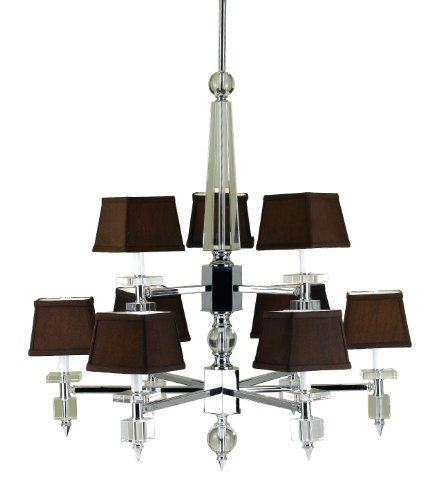 Candice Olson Cluny 9 x 40-Watt Light Chandelier, Chrome with Strong Crystal Accents and Chocolate Poly/Silk Shades ()