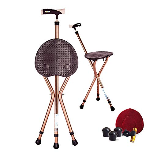 Folding Cane Seat 441 lbs Capacity Thick Aluminum Alloy Cane Stool Crutch Chair Seat 3 Legs Cane Seats Highly Adjustable Walking Stick Tall Unisex for Elderly Brown (Bar Stools Back Cane)