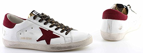 GOLDEN GOOSE Zapatos Hombres Sneakers Superstar White Gold Leather Wool Star New