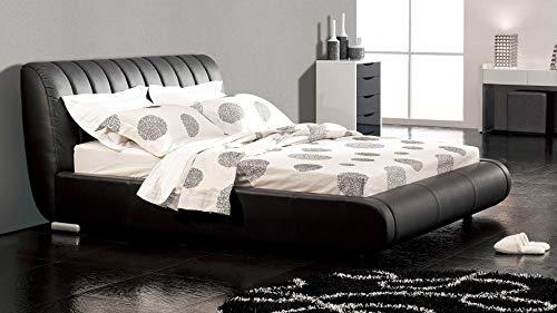 Zuri Furniture Dior Leather Contemporary Platform Cal King Bed- Black