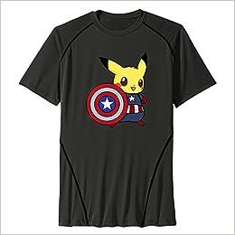 ad98489bc Amazon.com: Captain Pikachu Men Performance Base Layer Workout T-Shirt  Family (6310951042634): Books