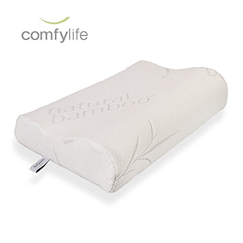 Hypoallergenic Bamboo Memory Foam Contour Pillow - Antimicrobial Dust Mite Resistant A Firm Flexible Therapeutic Posturepedic Pillow for Sound Sleep and Reduced Neck and Shoulder Pain (20 x 12 in)