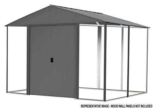 Arrow 10' x 12' Ironwood Galvanized Steel and Wood Panel Hybrid Outdoor Shed Kit, 10' x 12', Anthracite