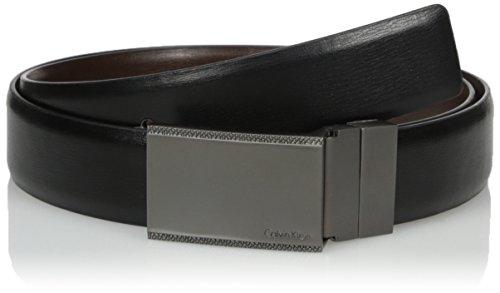 Calvin Klein Men's Calvin Klein Plaque Buckle 30mm Reversible Belt, black/Brown, 32