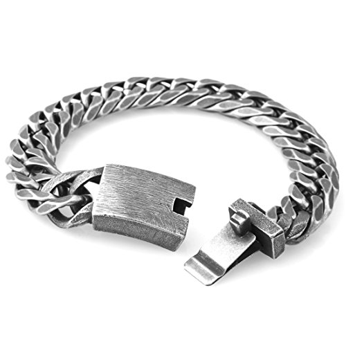 - Mens Punk Jewelry Brushed Black Curb Cuban Link Chain Stainless Steel Bracelet